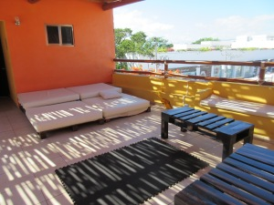Lounging areas on the hostel rooftop