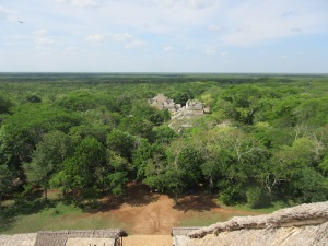The view of the other pyramids from the top of Ek Balam's main pyramid