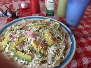 Delicious Mexican chilaquiles, a breakfast food, at a no-name eatery on Calle Sol.