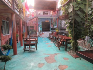 The outdoor hostel courtyard