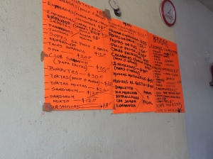 Menu in a small family owned eatery in Tulum posted on the wall