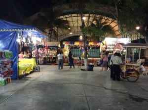 The evening vendors and entertainment at the Tulum main square