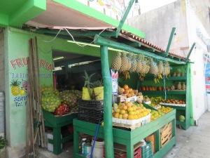 Street-side fruit market in Tulum